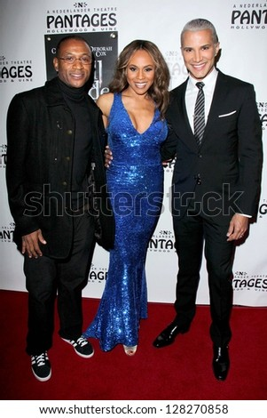 LOS ANGELES - FEB 12:  Tommy Davidson, Deborah Cox, Jay Manuel arrives at the Jekyll & Hyde Play Opening at the Pantages Theater on February 12, 2013 in Los Angeles, CA