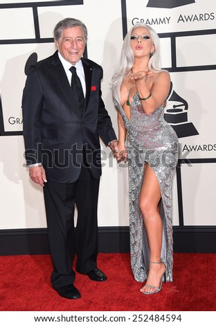 LOS ANGELES - FEB 08:  Tony Bennett & Lady Gaga arrives to the Grammy Awards 2015  on February 8, 2015 in Los Angeles, CA                 - stock photo