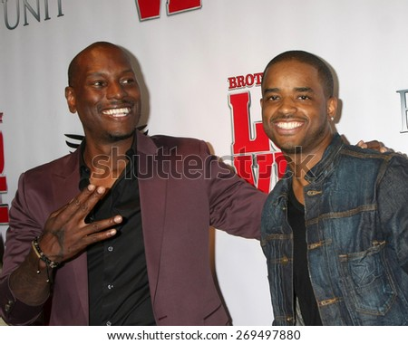 "LOS ANGELES - FEB 13:  Tyrese Gibson, Larenz Tate at the ""Brotherly Love"" LA Premiere at the Silver Screen Theater at the Pacific Design Center on April 13, 2015 in West Hollywood, CA - stock photo"