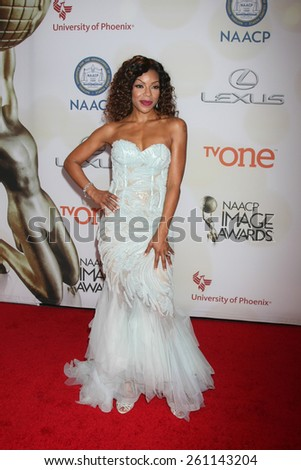 LOS ANGELES - FEB 6:  Wendy Raquel Robinson at the 46th NAACP Image Awards Arrivals at a Pasadena Convention Center on February 6, 2015 in Pasadena, CA - stock photo