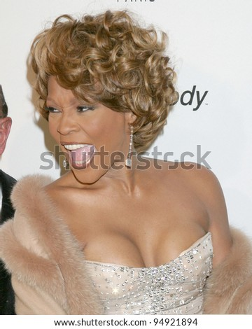 LOS ANGELES - FEB 10:  Whitney Houston arrives at the Clive Davis Annual Pre-Grammy Party at Beverly Hilton Hotel on February 10, 2007 in Beverly Hills, CA - stock photo