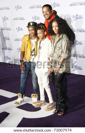 LOS ANGELES - FEB 8:  Will Smith family arriving at the Los Angeles premiere of 'Justin Bieber: Never Say Never' at the Nokia Theater L.A.Live in Los Angeles, California on February 8, 2011. - stock photo