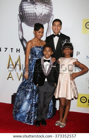 LOS ANGELES - FEB 5:  Yara Shahidi, Marcus Scribner (back), Miles Brown, Marsai Martin (front) at the NAACP Image Awards Press Room at the Pasadena Civic Auditorium on February 5, 2016 in Pasadena, CA