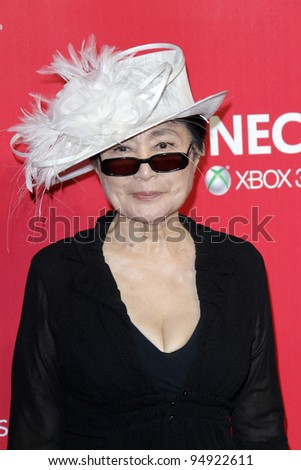 LOS ANGELES - FEB 10:  Yoko Ono arrives at the 2012 MusiCares Gala honoring Paul McCartney at LA Convention Center on February 10, 2012 in Los Angeles, CA - stock photo