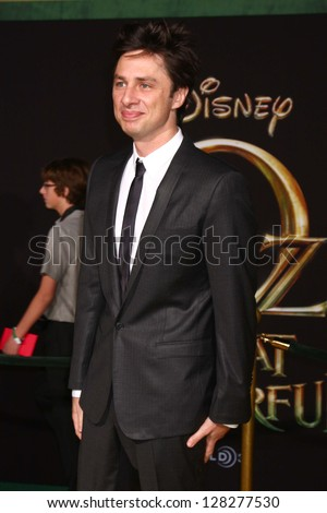 LOS ANGELES - FEB 13:  Zach Braff at the 'Oz THe Great and Powerful!'  World Premiere at the El Capitan Theater on February 13, 2013 in Los Angeles, CA - stock photo