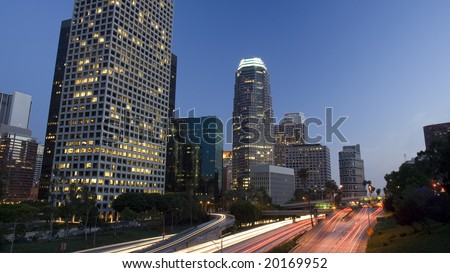 Los Angeles highway at twilight - stock photo