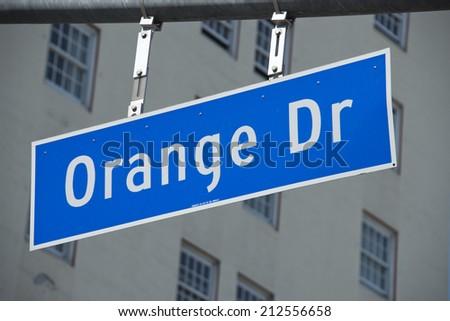 Los Angeles Hollywood Orange Drive sign - stock photo