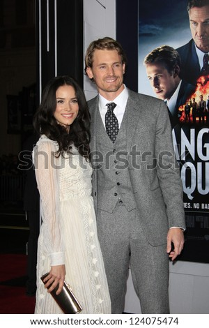 LOS ANGELES - JAN 7: Abigail Spencer, Josh Pence at Warner Bros. Pictures' 'Gangster Squad' premiere at Grauman's Chinese Theater on January 7, 2013 in Los Angeles, California - stock photo