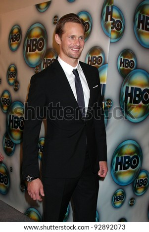 LOS ANGELES - JAN 15:  Alexander Skarsgard. arrives at  the HBO Golden Globe Party 2012 at Beverly Hilton Hotel on January 15, 2012 in Beverly Hills, CA - stock photo