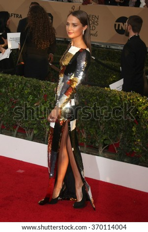 LOS ANGELES - JAN 30:  Alicia Vikander at the 22nd Screen Actors Guild Awards at the Shrine Auditorium on January 30, 2016 in Los Angeles, CA - stock photo