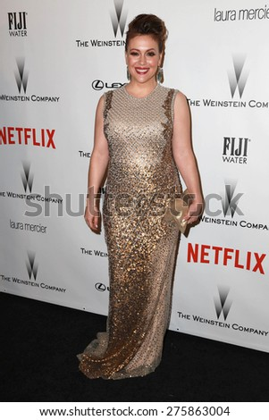 LOS ANGELES - JAN 11:  Alyssa Milano at the The Weinstein Company / Netflix Golden Globes After Party at a Beverly Hilton Adjacent on January 11, 2015 in Beverly Hills, CA - stock photo