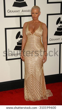 LOS ANGELES - JAN 26:  Amber Rose arrives at the 56th Annual Grammy Awards Arrivals  on January 26, 2014 in Los Angeles, CA