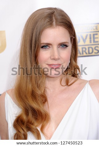 "LOS ANGELES - JAN 10:  Amy Adams arrives to the ""Critic's Choice Awards 2013  on January 10, 2013 in Santa Monica, CA"