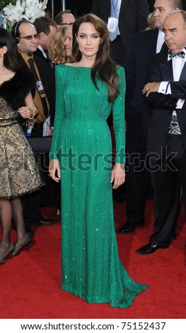 LOS ANGELES - JAN 16:  Angelina Jolie arrives to the 68th Annual Golden Globe Awards  on January 16, 2011 in Beverly Hills, CA