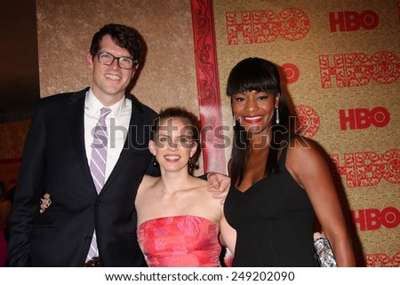 LOS ANGELES - JAN 12:  Anna Chlumsky, Sufe Bradshaw at the HBO 2014 Golden Globe Party  at Beverly Hilton Hotel on January 12, 2014 in Beverly Hills, CA - stock photo