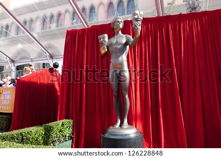 LOS ANGELES - JAN 27: Atmosphere, Statue  at the 19th Annual Screen Actors Guild Awards held at The Shrine Auditorium on January 27, 2013 in Los Angeles, California - stock photo