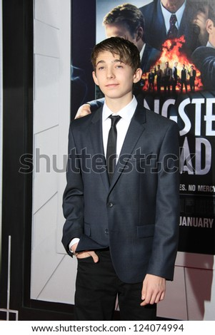 LOS ANGELES - JAN 7: Austin Abrams at Warner Bros. Pictures' 'Gangster Squad' premiere at Grauman's Chinese Theater on January 7, 2013 in Los Angeles, California - stock photo