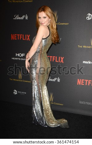 LOS ANGELES - JAN 10:  Bella Thorne at the Weinstein Company & Netflix 2016 Golden Globe After Party at the Beverly Hilton on January 10, 2016 in Beverly Hills, CA - stock photo