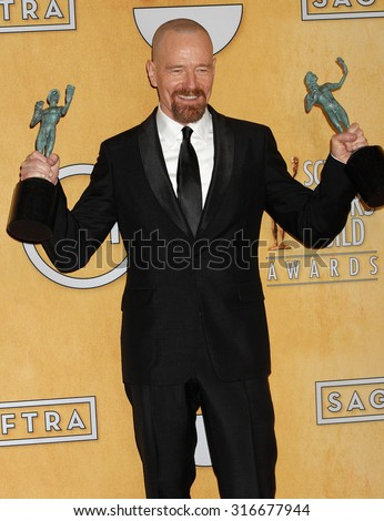 LOS ANGELES - JAN 27 - Bryan Cranston arrives at the 19th Annual Screen Actors Guild Awards Press Room  on January 27, 2013 in Los Angeles, CA              - stock photo