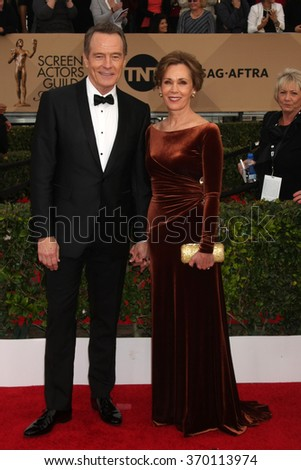LOS ANGELES - JAN 30:  Bryan Cranston, Robin Dearden at the 22nd Screen Actors Guild Awards at the Shrine Auditorium on January 30, 2016 in Los Angeles, CA - stock photo