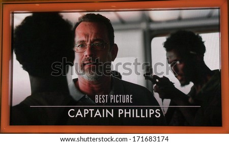 "LOS ANGELES - JAN 16:  ""Captain Phillips"" Nominated Best Picture at the 86th Academy Awards Nominations Announcement  at AMPAS Samuel Goldwyn Theater on January 16, 2014 in Beverly Hills, CA - stock photo"
