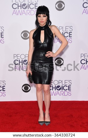 LOS ANGELES - JAN 06:  Carly Rae Jepsen arrives to the People's Choice Awards 2016  on January 06, 2016 in Hollywood, CA.                 - stock photo