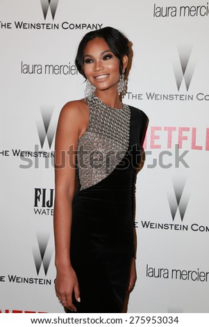 LOS ANGELES - JAN 11:  Chanel Iman at the The Weinstein Company / Netflix Golden Globes After Party at a Beverly Hilton Adjacent on January 11, 2015 in Beverly Hills, CA - stock photo