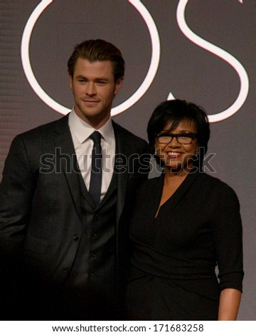 LOS ANGELES - JAN 16:  Chris Hemsworth, Cheryl Boone Isaacs at the 86th Academy Awards Nominations Announcement  at AMPAS Samuel Goldwyn Theater on January 16, 2014 in Beverly Hills, CA - stock photo