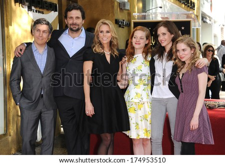 LOS ANGELES - JAN 29:  Chris Parnell, Jeremy Sisto, Cheryl Hines, Jane Levy, Carly Chaikin & Allie Grant Walk of Fame Honors Cheryl Hines  on January 29, 2014 in Hollywood, CA                 - stock photo