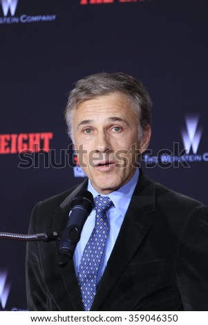 LOS ANGELES - JAN 5: Christoph Waltz at a ceremony as Quentin Tarantino is honored with hand & footprints at the TCL Chinese Theatre IMAX on January 5, 2016 in Los Angeles, CA - stock photo