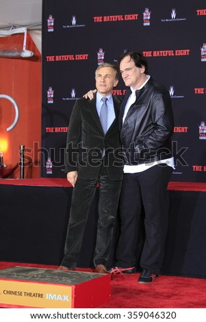 LOS ANGELES - JAN 5: Christoph Waltz, Quentin Tarantino at a ceremony as Quentin Tarantino is honored with hand & footprints at the TCL Chinese Theatre IMAX on January 5, 2016 in Los Angeles, CA - stock photo