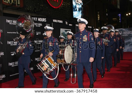 LOS ANGELES - JAN 25:  Coast Guard Band at the The Finest Hours Los Angeles Premiere at the TCL Chinese Theater IMAX on January 25, 2016 in Los Angeles, CA - stock photo