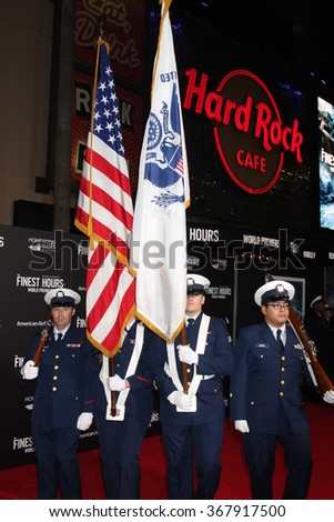 LOS ANGELES - JAN 25:  Coast Guard Honor Guard at the The Finest Hours Los Angeles Premiere at the TCL Chinese Theater IMAX on January 25, 2016 in Los Angeles, CA - stock photo