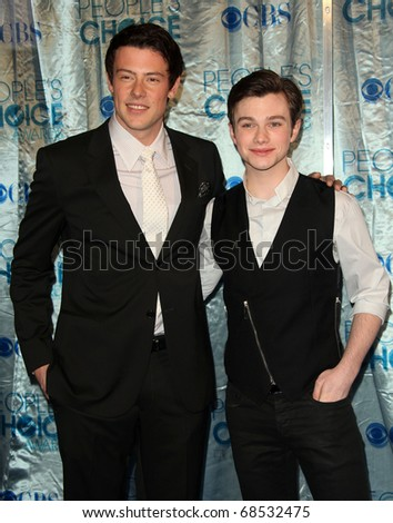 "LOS ANGELES - JAN 05:  Cory Monteith, Chris Colfer  ""2011 People's Choice Awards""  at Nokia Theatre on January 05, 2010 in Los Angeles, CA"