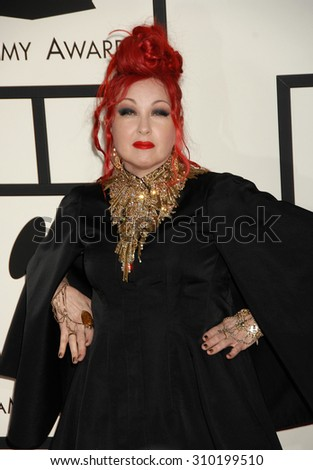 LOS ANGELES - JAN 26:  Cyndi Lauper arrives at the 56th Annual Grammy Awards Arrivals  on January 26, 2014 in Los Angeles, CA                 - stock photo