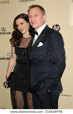 LOS ANGELES - JAN 13 - Daniel Craig and Rachel Weisz arrives at the 2013 Weinstein Company Golden Globes After Party  on January 13, 2013 in Beverly Hills, CA              - stock photo