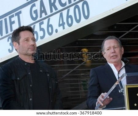 LOS ANGELES - JAN 25:  David Duchovny, Garry Shandling at the David Duchovny Hollywood Walk of Fame Star Ceremony at the Fox Theater on January 25, 2016 in Los Angeles, CA - stock photo
