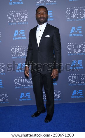 LOS ANGELES - JAN 16:  David Oleyowo arrives to the Critics' Choice Awards 2015  on January 16, 2015 in Hollywood, CA                 - stock photo