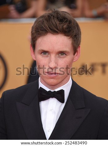 LOS ANGELES - JAN 25:  Eddie Redmayne arrives to the 21st Annual Screen Actors Guild Awards  on January 25, 2015 in Los Angeles, CA                 - stock photo
