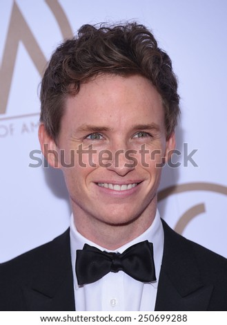 LOS ANGELES - JAN 24:  Eddie Redmayne arrives to the 26th Annual Producers Guild Awards  on January 24, 2015 in Century City, CA                 - stock photo