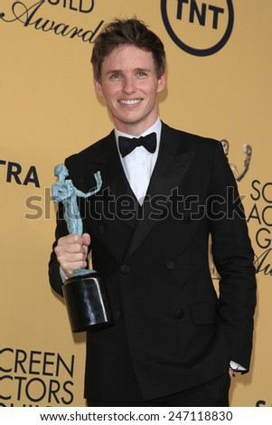 LOS ANGELES - JAN 25:  Eddie Redmayne at the 2015 Screen Actor Guild Awards at the Shrine Auditorium on January 25, 2015 in Los Angeles, CA - stock photo