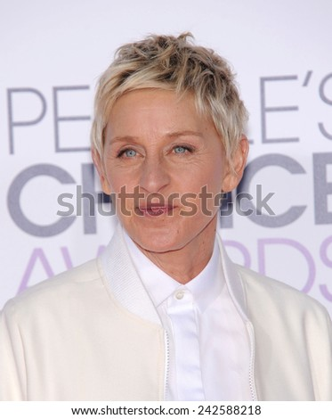 LOS ANGELES - JAN 07:  Ellen DeGeneres arrives to the People's Choice Awards 2014  on January 7, 2015 in Los Angeles, CA                 - stock photo