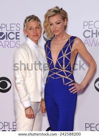 LOS ANGELES - JAN 07:  Ellen DeGeneres & Portia De Rossi arrives to the People's Choice Awards 2014  on January 7, 2015 in Los Angeles, CA                 - stock photo