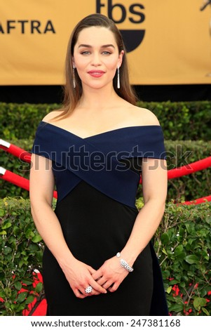 LOS ANGELES - JAN 25:  Emilia Clarke at the 2015 Screen Actor Guild Awards at the Shrine Auditorium on January 25, 2015 in Los Angeles, CA - stock photo