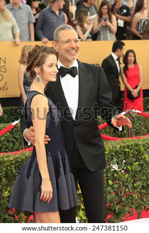LOS ANGELES - JAN 25:  Emilie Livingston, Jeff Goldblum at the 2015 Screen Actor Guild Awards at the Shrine Auditorium on January 25, 2015 in Los Angeles, CA - stock photo