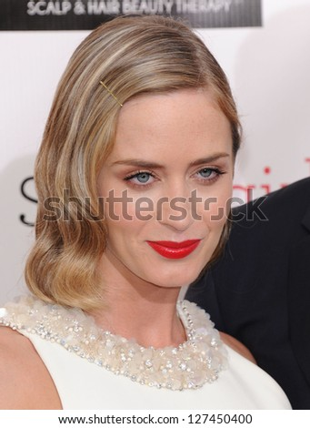 "LOS ANGELES - JAN 10:  Emily Blunt arrives to the ""Critic's Choice Awards 2013  on January 10, 2013 in Santa Monica, CA"