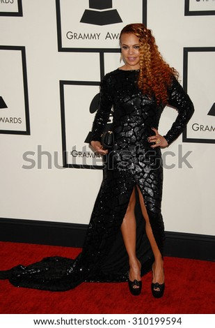 LOS ANGELES - JAN 26:  Faith Evans arrives at the 56th Annual Grammy Awards Arrivals  on January 26, 2014 in Los Angeles, CA                 - stock photo