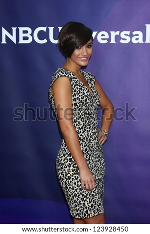 LOS ANGELES - JAN 7:  Frankie Sandford of 'The Saturdays' attends the NBCUniversal 2013 TCA Winter Press Tour at Langham Huntington Hotel on January 7, 2013 in Pasadena, CA - stock photo