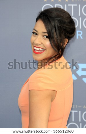 LOS ANGELES - JAN 17:  Gina Rodriguez at the 21st Annual Critics Choice Awards at the Barker Hanger on January 17, 2016 in Santa Monica, CA - stock photo