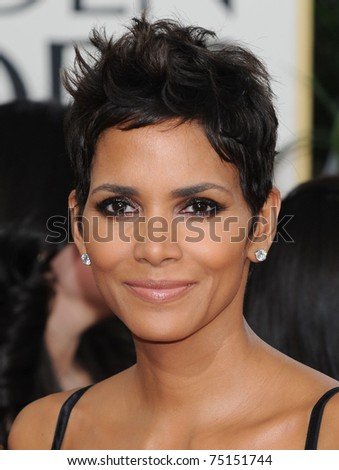 LOS ANGELES - JAN 16:  Halle Berry arrives to the 68th Annual Golden Globe Awards  on January 16, 2011 in Beverly Hills, CA - stock photo